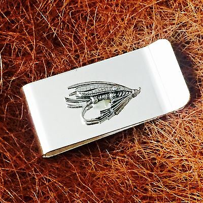Silver Plated Money Clip with Antique Pewter Fly Lure Fishing Emblem