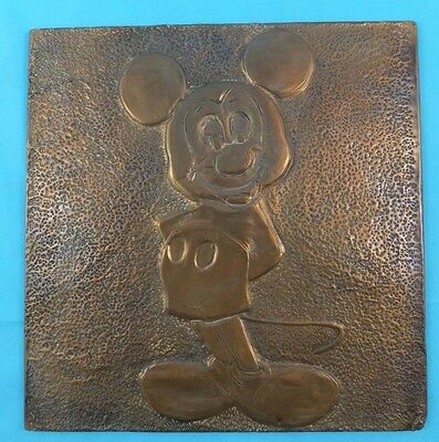 Vintage Copper Wall Art possibly 1960s Walt Disney Mickey Mouse Picture RARE