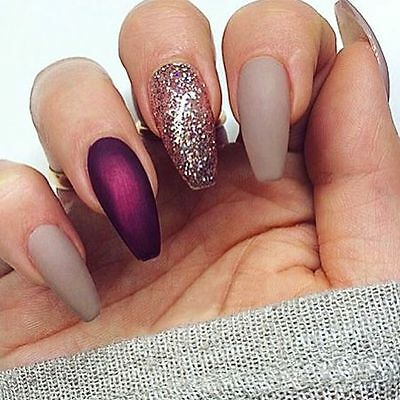 Hand painted nude purple gold glitter coffin false nails small medium large
