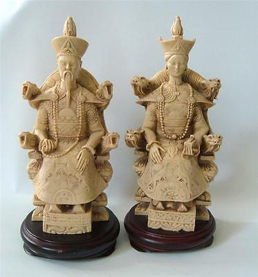 """Vintage Chinese Emperor and Empress Carved Resin Statues Figures Thrones 10"""" m"""