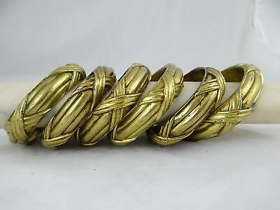 Superb Antique French 6 Rings Solid Bronze Curtain - Louis XVI Style Ribbon