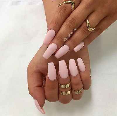 Hand painted baby matte pink square false nails small medium large 12