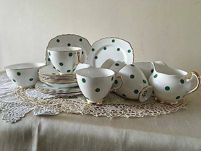 Vintage Royal Vale Polka Dot Tea Set Dark Green 1950's GC