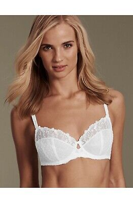 New M&s Adored Ophelia Embroidered Non Padded Full Cup Bra ~ White ~ *rrp £20*