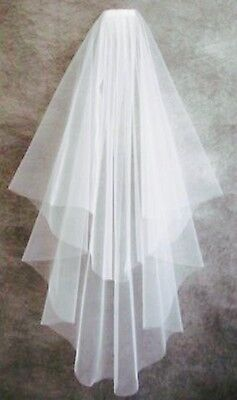 Elegant two tier waterfall wedding veil-Italian tulle- fingertip lenth