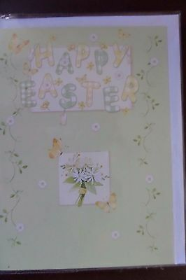 Happy Easter Greetings Card green yellow design