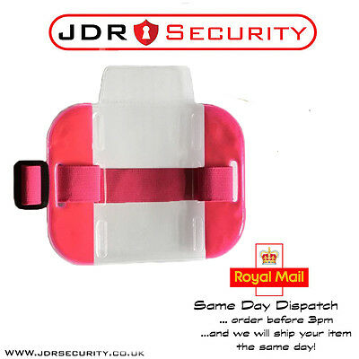 HIGH QUALITY Hi Vis Pink SIA ID Badge Holder - Security Event Warehouse Staff