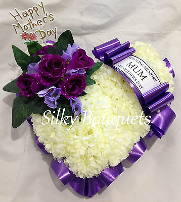 Mothers Day Artificial Silk Flower Heart Wreath Tribute Funeral Mum Personalised