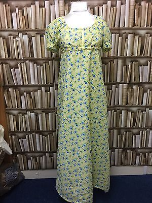 Puff Sleeved  Regency, Jane Austen Style Cotton Gown Yellow Floral Cotton