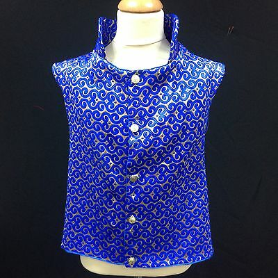 Regency Style Royal Blue And Gold Brocade Waistcoat