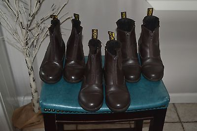 Lot of 3 Brown Saxon Paddock Horseback Riding Boots Children's Kids Size 2 3 & 4