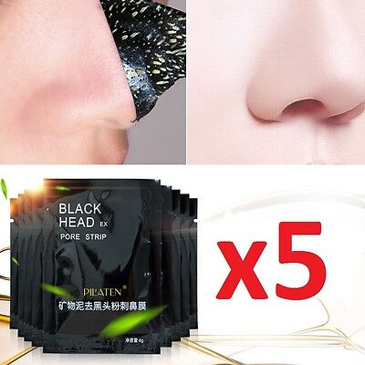 5 x PILATEN BlackHead Remover Genuine Deep Clensing Mud Mask Pore Face Peel Off