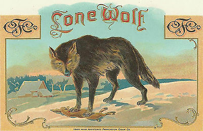Stunning LONE WOLF Antique Cigar Box Label T SHIRT SMALL-XXXLARGE (F)