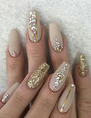 nude gold glitter crystal coffin  false nails hand painted small medium