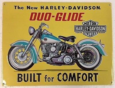 Ande Rooney HARLEY DAVIDSON BUILT FOR COMFORT Duo-Glide HD Motorcycle Tin Sign