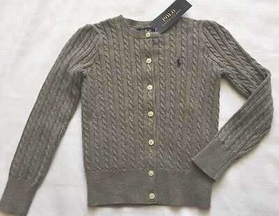 Ralph Lauren Polo Girl's Size 5 Gray Cardigan Sweater Cable Knit NEW
