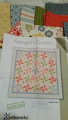 "Patchwork Quilting Kit Farm girls Garden quilt by Clothworks 48"" x 48"""