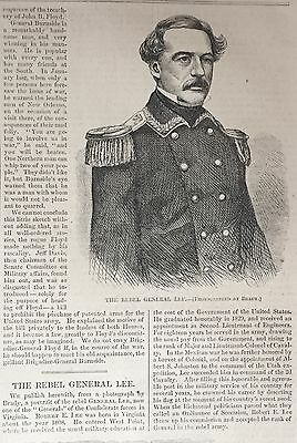 1861 Civil War newspaper w Very Early ROBERT E LEE PORTRAIT & NAVY BATTLE POSTER