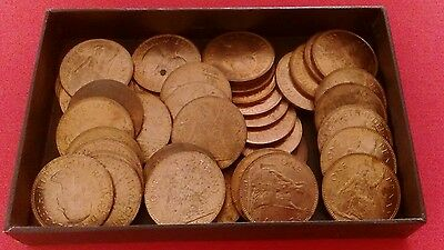 Box Of 42 Old 1967 British Penny Coins.