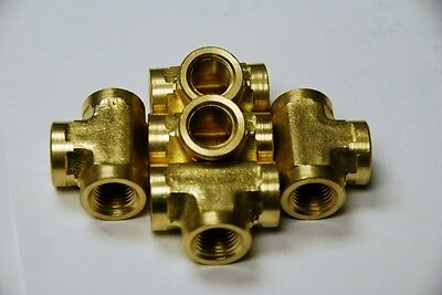 Brass Fittings: Brass Tee Forged Female Pipe Size 3/8, QTY 5