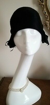 Authentic Miss Dior Vintage 40's Black Hat Cloche With Bows Stunning!