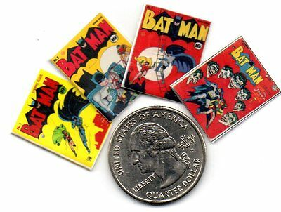 4 Miniature  'Bat Man'   Comics  - Dollshouse 1:12 scale