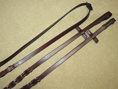 BRAND NEW~Lovely & High Quality STUBBEN Brown English LACED Leather Reins~114""