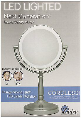 "Zadro 10x Mag LED Cordless Double Sided Round Vanity Mirror 9"" Satin Nickel"