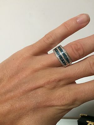 Diamond Ring 1.7 Carat With Blue Set In 14K White Gold