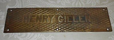 Antique Maritime Brass Ship Sign Henry Gillen Towing Tug 149 1917