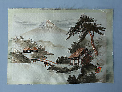 Old or Antique Japanese Silk Embroidered Picture of Mount Fuji