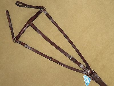 NEW~Lovely High Quality STUBBEN Brown English ADJUSTABLE Leather Breastplate~F/S