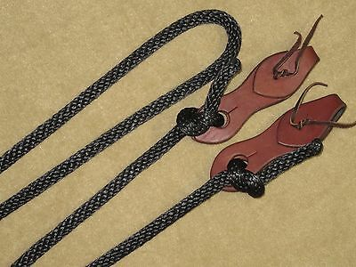 """5/8"""" Black Nylon Western Roping Contest Reins w/HARNESS LEATHER SLOBBER STRAPS"""