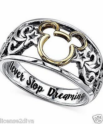 14K Gold Plt & Sterling Silver Disney Mickey Mouse Ring 'never Stop Dreaming' 6!