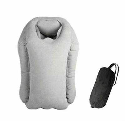 Inflatable Travel Pillow Cushion Rest Support Comfortable Sleep Positioner- Gray