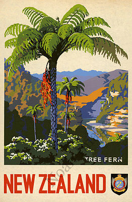 New Zealand Tree Fern vintage travel poster repro 24x36