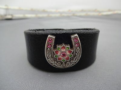 Hand Made Black Leather Wristand, Pewter Horseshoe concho all sizes