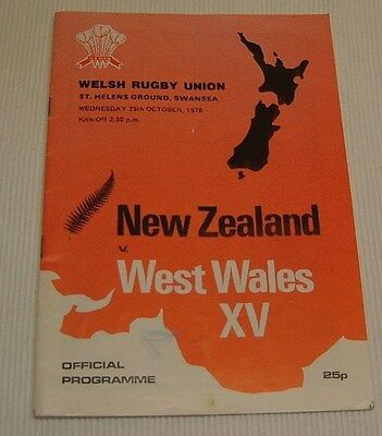 1978 New Zealand V West Wales Xv Rugby Programme.