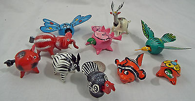 Lot of 10 Assorted Bobble Head Animals Various Colors  Dragon Butterfly Elephant