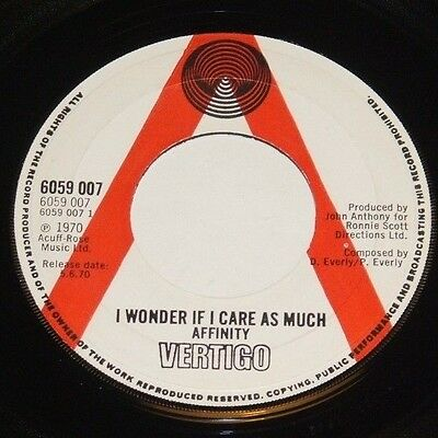 "AFFINITY i wonder if i care as much UK 7"" promo VERTIGO spiral label"