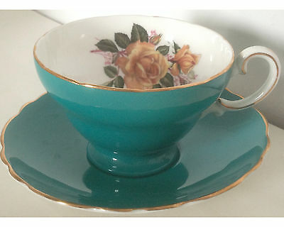 Fancy Teal Crown Staffordshire Yellow Roses Cup and Saucer