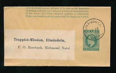 Natal Ke7 Stationery Wrapper Trappist Mission Einsiedeln...vf Mariannhill Cancel