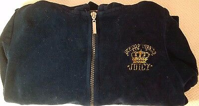 Juicy Couture - Blue & Gold Velour Girls Zip Up Hoodie