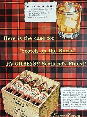 1950 Vintage Gilbey's Scotch Advertisement Colorful Tartan On The Rocks Drink Ad