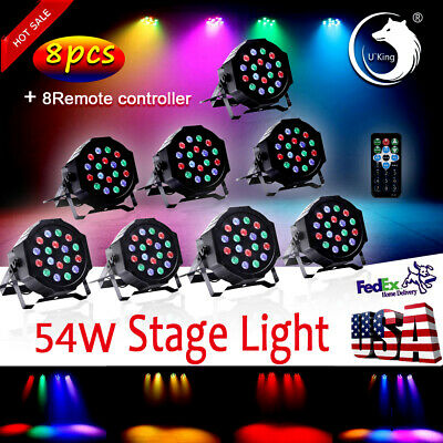 10Pack DJ PAR Wash RGB 18*3W LED  DJ Party Lights PAR64 DMX Stage Lighting+Remot