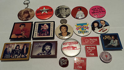 Country Music Buttons, Lapel Pins, Badges & a Key Ring Vintage 1980s (19 items)