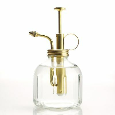 Purism Style Clear Glass & Brass Gardening Planting Mister Water Sprayer