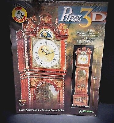 Puzz 3D Grandfather Clock Puzzle REAL WORKING CLOCK 777 Pieces BRAND NEW SEALED