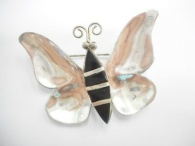Vintage Sterling Silver Taxco Black Onyx Butterfly Brooch #2782
