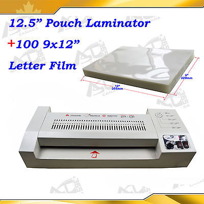 "100PK 9x12""Pouch Film+All Metal Hot/Cold Laminator Machine Laminating Kit"
